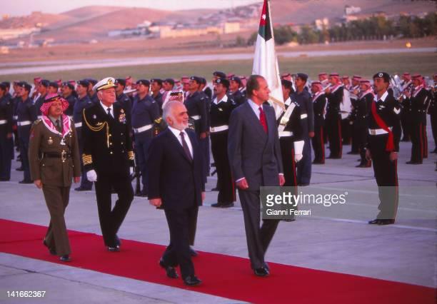 Spanish King Juan Carlos during his visit to Jordan is received by King Hussein Amman Jordan