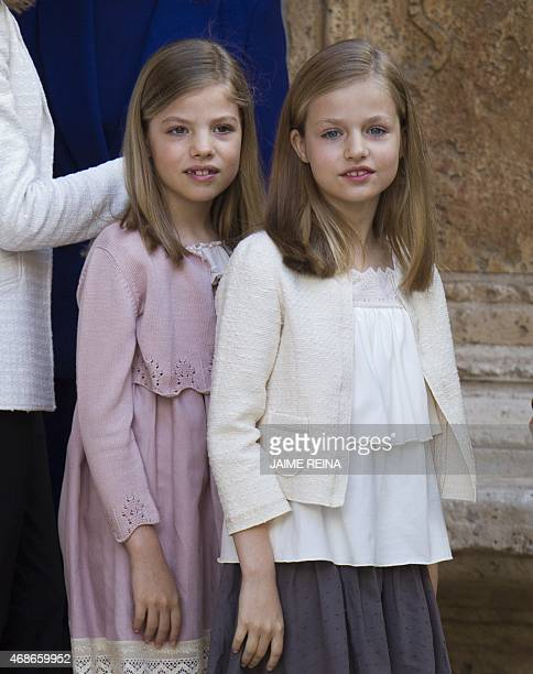 Spanish King's daughters Sofia and Princess Leonor pose before attending the traditional Mass of Resurrection in Palma de Mallorca on April 5 2015...