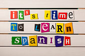 Spanish language learning concept image. It's time to learn spanish.