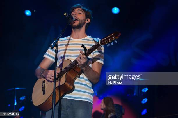Spanish Latin pop musician Alvaro Soler on stage as he performs at Porto Turistico in Pescara Italy August 13 2017
