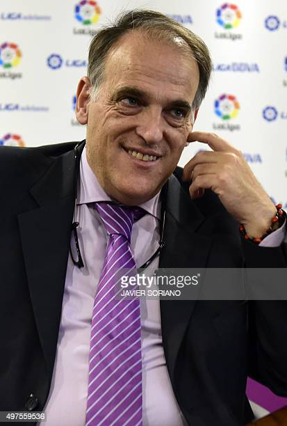 Spanish League Football President President Javier Tebas speaks during an interview with AFP in Madrid on November 17 2015 The head of the Spanish...