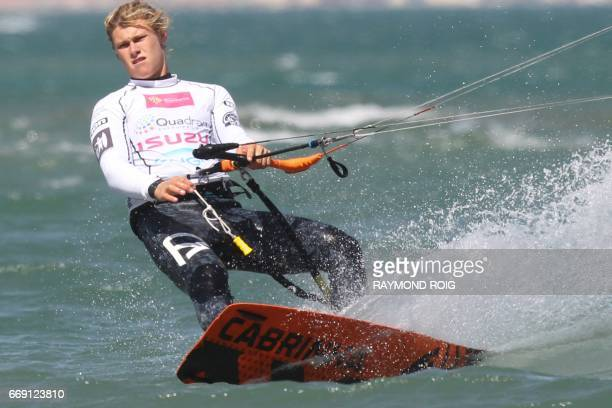 Spanish Liam Whaley competes in the Mondial du Vent or World Wind kitesurfer competition part of the World Cup Kitesurf Freestyle WKL 2017 at La...