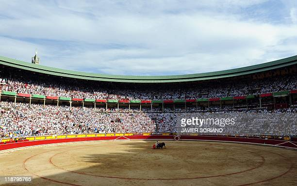 Spanish matador Alberto Aguilar gives a pass to a Dolores Aguirre Ybarra's bull during a bullfight of the San Fermin festival on July 9 in Pamplona...