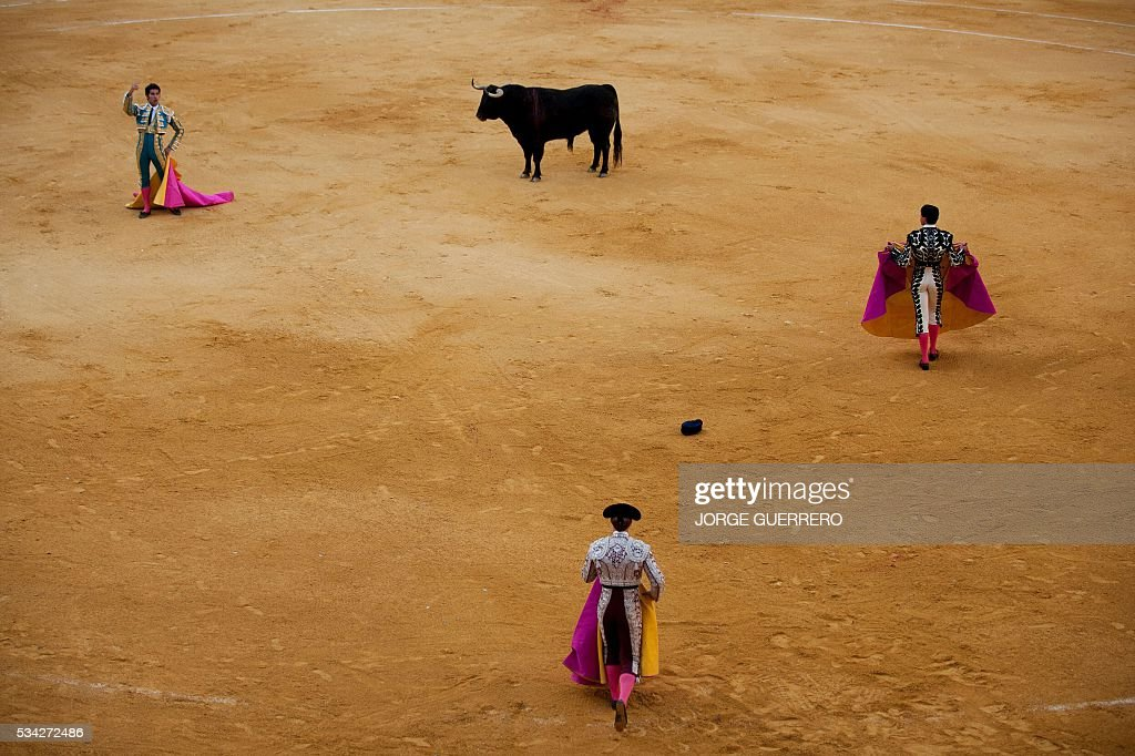 Spanish matador Cayetano Rivera (L) acknowledges the crowd during the Corpus bullfight festival at the bullring of Granada on May 25, 2016. / AFP / JORGE