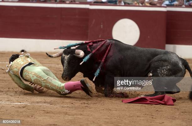 Spanish matador David Mora is gored by a La Quinta bull at Plumacon arena in MontdeMarsan southwestern France during the festival of La Madeleine on...