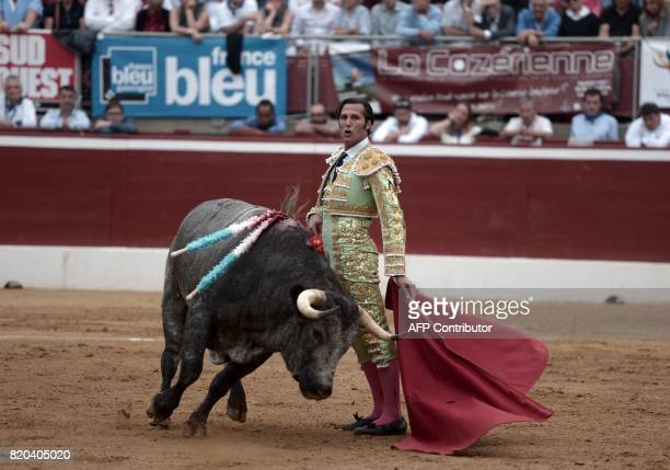 Spanish matador David Mora performs a pass on a La Quinta bull at Plumacon arena in MontdeMarsan southwestern France during the festival of La...