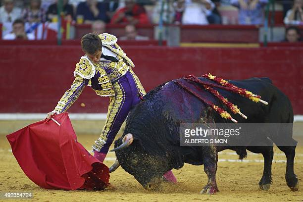 Spanish matador El Juli performs a pass to a bull during the El Pilar Feria at Pignatelli bullring in Zaragoza on October 12 2015 AFP PHOTO/ ALBERTO...