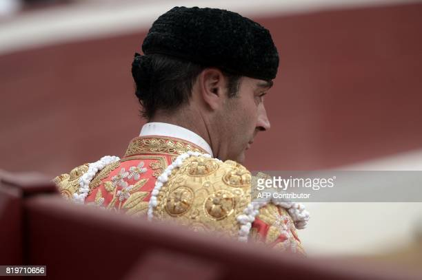 Spanish matador Enrique looks on at Plumacon arena in Mont de Marsan during the festival of La Madeleine southwestern France on July 20 2017 / AFP...