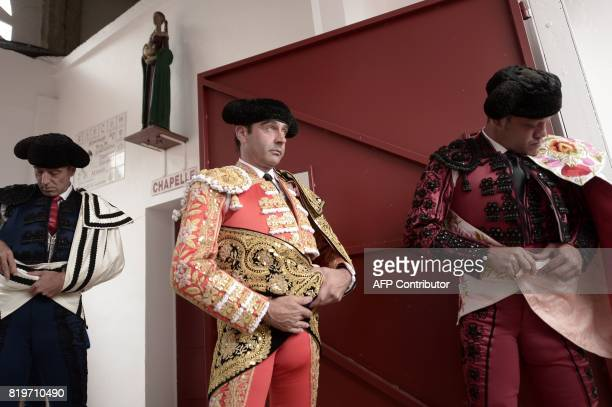Spanish matador Enrique Ponce looks on before a bullfighting at Plumacon arena in Mont de Marsan during the festival of La Madeleinesouthwestern...