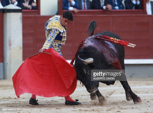 Spanish matador Francisco Rivera Ordonez performs a pass on a bull during the San Isidro bullfight festival at Las Ventas bullring in Madrid on May...