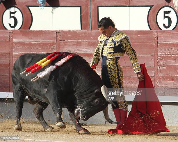 Spanish matador Ivan Fandino makes a pass to a bull at Las Ventas bullring during the San Isidro Feria on May 22 2013 in Madrid AFP PHOTO / ALBERTO...