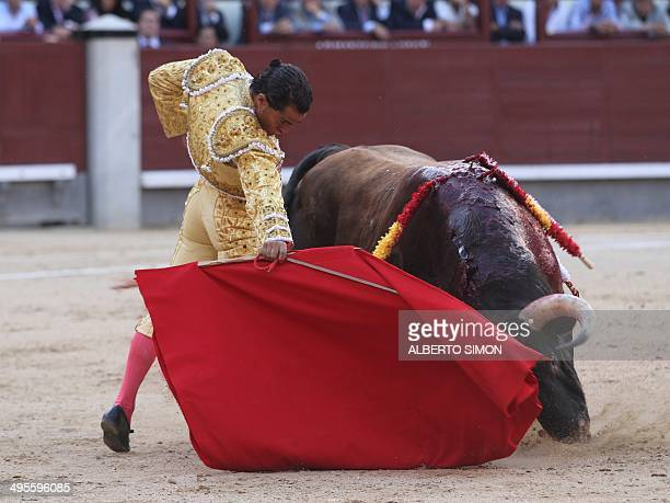Spanish matador Ivan Fandiño performs a pass to a bull during the San Isidro Feria at Las Ventas bullring in Madrid on June 4 2014 AFP PHOTO/ ALBERTO...