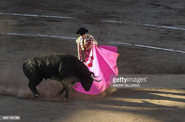 Spanish matador Jose Garrido performs a pass on a Jandilla stud bull during a corrida at the Vista Alegre bullring on August 25 2015 in the northern...