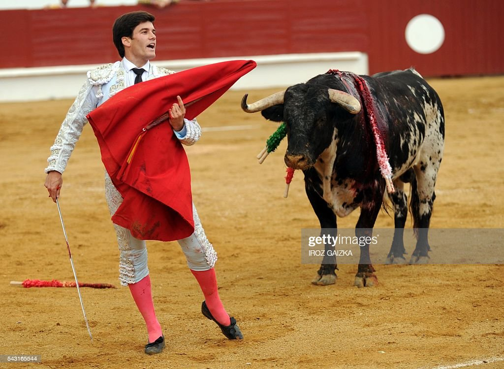 Spanish matador Jose Garrido performs a pass to a bull during a bullfight at Morlanne arena in Saint-Sever, southwestern France, on June 26, 2016. / AFP / IROZ