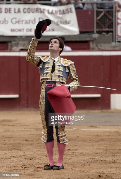 Spanish matador Juan Del Alamo dedicates his La Quinta bull to late Spanish matador Ivan Fandino at Plumacon arena in MontdeMarsan southwestern...