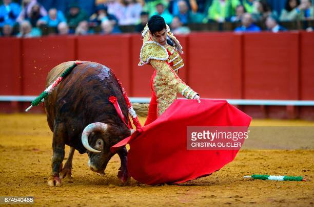 Spanish matador Lopez Simon performs a pass with muleta on a bull during a bullfight at the Maestranza bullring in Sevilla on April 28 2017 / AFP...