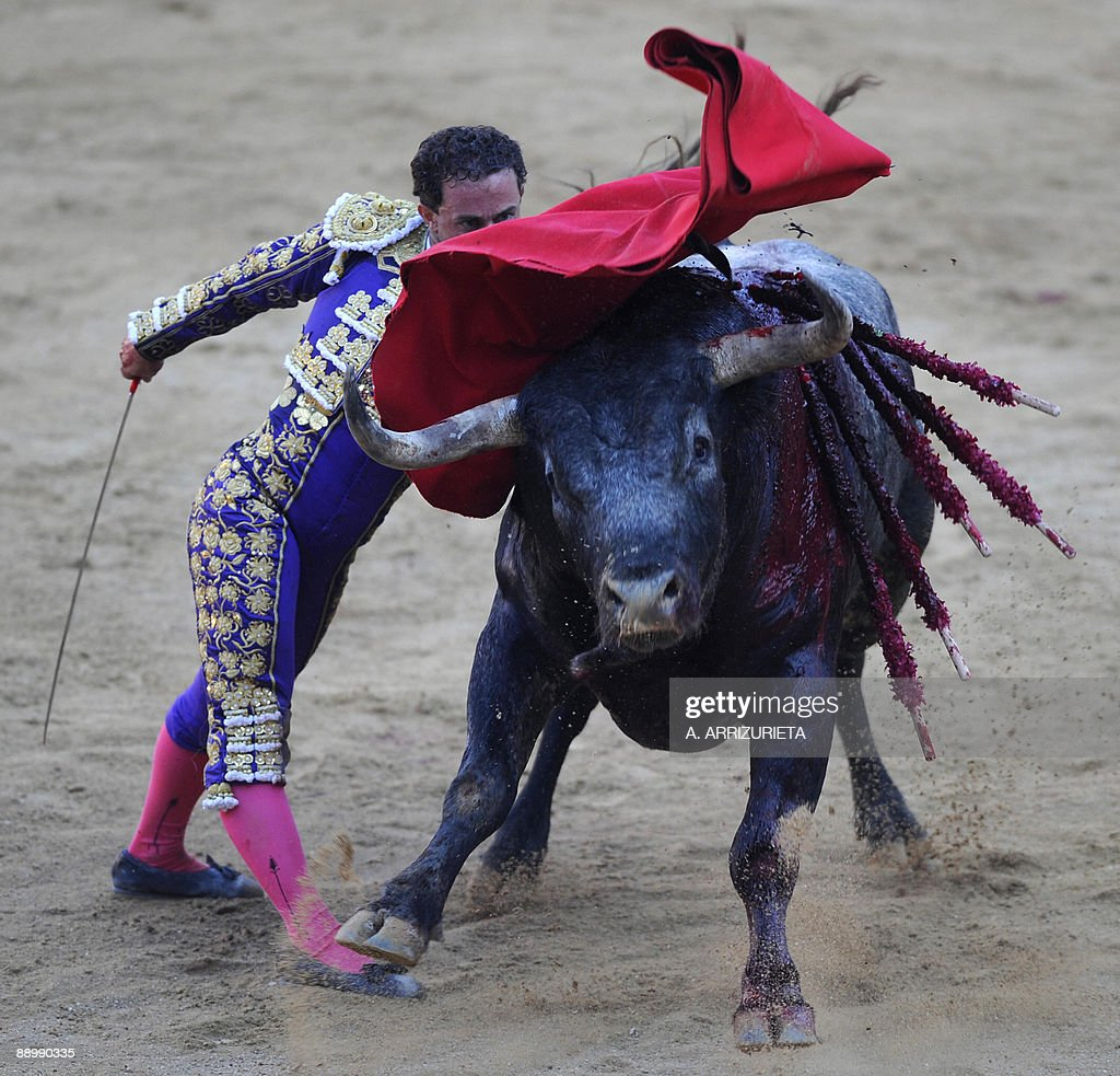 Spanish matador Rafael Rubio 'Rafaelillo' gives a pass to a bull during a bullfight of the San Fermin festival, on July 12, 2009, in Pamplona, northern Spain.