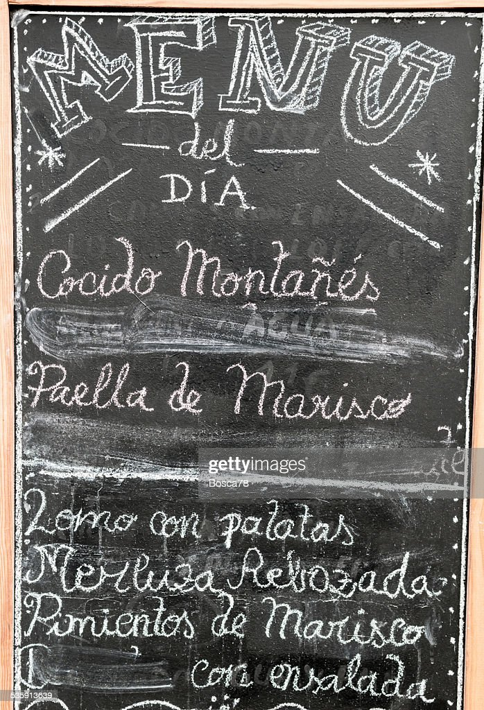 Spanish menu black board- Stock Image : Stock Photo