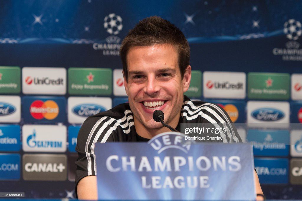 Spanish midfielder Cesar Azpilicueta speaks to the media during a press conference on the eve of the UEFA Champions League match between Paris Saint-Germain FC and Chelsea FC at Parc des Princes stadium on April 1, 2014 in Paris, France.
