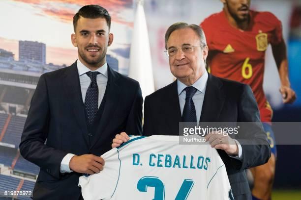 Spanish midfielder Dani Ceballos during his presentation as new football player of the Real Madrid CF at the Santiago Bernabeu stadium in Madrid on...