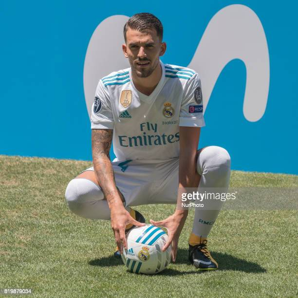 Spanish midfielder Dani Ceballos during his presentation as new football player of the Real Madrid CF at the Santiago Bernabeu stadium in Madrid on...