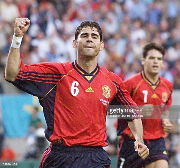 Spanish midfielder Fernando Hierro jubilates after scoring the 10 lead for his team 24 June at the Felix Bollaert stadium in Lens northern France...