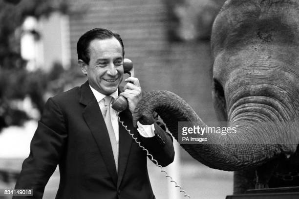 Spanish mime artist Alberto Vidal with an elephant at London Zoo Mr Vidal will become one of the exhibits at the zoo when he portrays the daily...