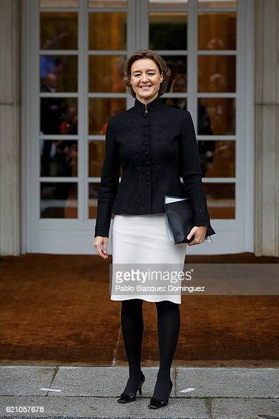 Spanish Minister of Agriculture Fishery Alimentation and Environmental Affairs Isabel Garcia Tejerina poses for photographers as she arrives to the...