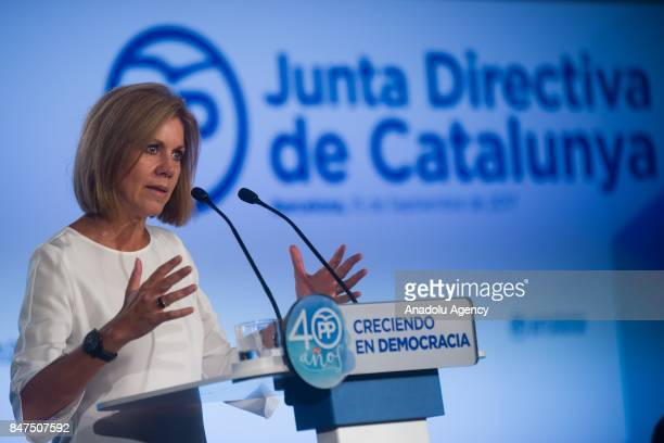 Spanish Minister of Defence Maria Dolores de Cospedal delivers a speech during a regional party meeting at the World Trade Center in Barcelona Spain...