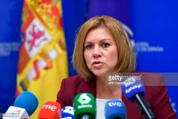 Spanish Minister of Defence Maria Dolores de Cospedal delivers a press conference during the second day of a defence ministers meeting at NATO...