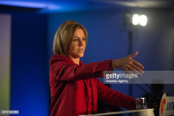 Spanish Minister of Defence Maria Dolores de Cospedal speaks during a gathering to show support for Leader of the Catalan Popular Party Xavier Garcia...