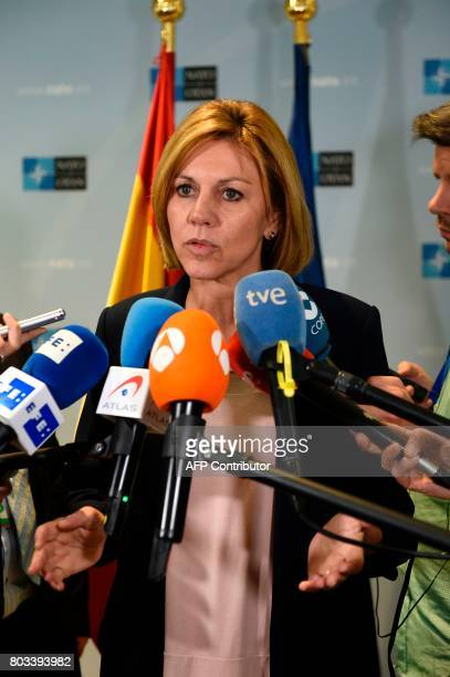 Spanish Minister of Defence Maria Dolores de Cospedal speaks to the press during a Nato Defense Council meeting at the NATO Headquarters in Brussels...