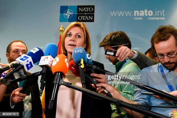 Spanish Minister of Defence Maria Dolores de Cospedal speaks to the press during a NATO Defence Council meeting at the NATO Headquarters in Brussels...