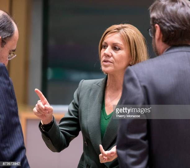 Spanish Minister of defense Maria Dolores de Cospedal is talking with staff members during a NATO EU Defence Ministers meeting in the EU Council...