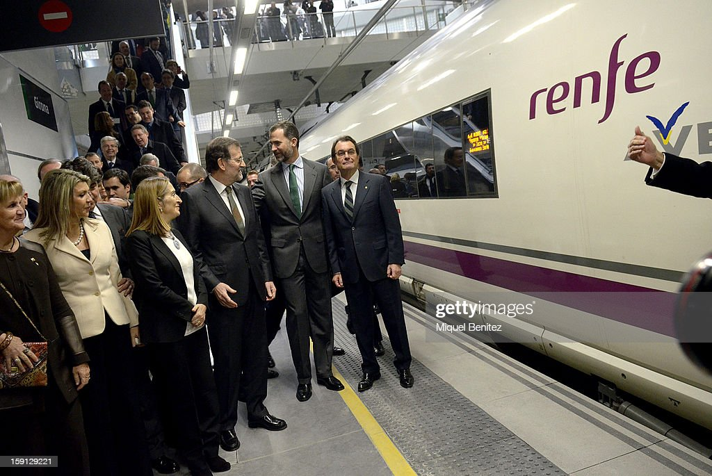 Spanish Minister of Development Ana Pastor, Prime Minister of Spain Mariano Rajoy, Prince Felipe of Spain and President of Catalonia Artur Mas at Girona train station during the inauguration of the AVE high-speed train line between Barcelona and the French border on January 8, 2013 in Barcelona, Spain.