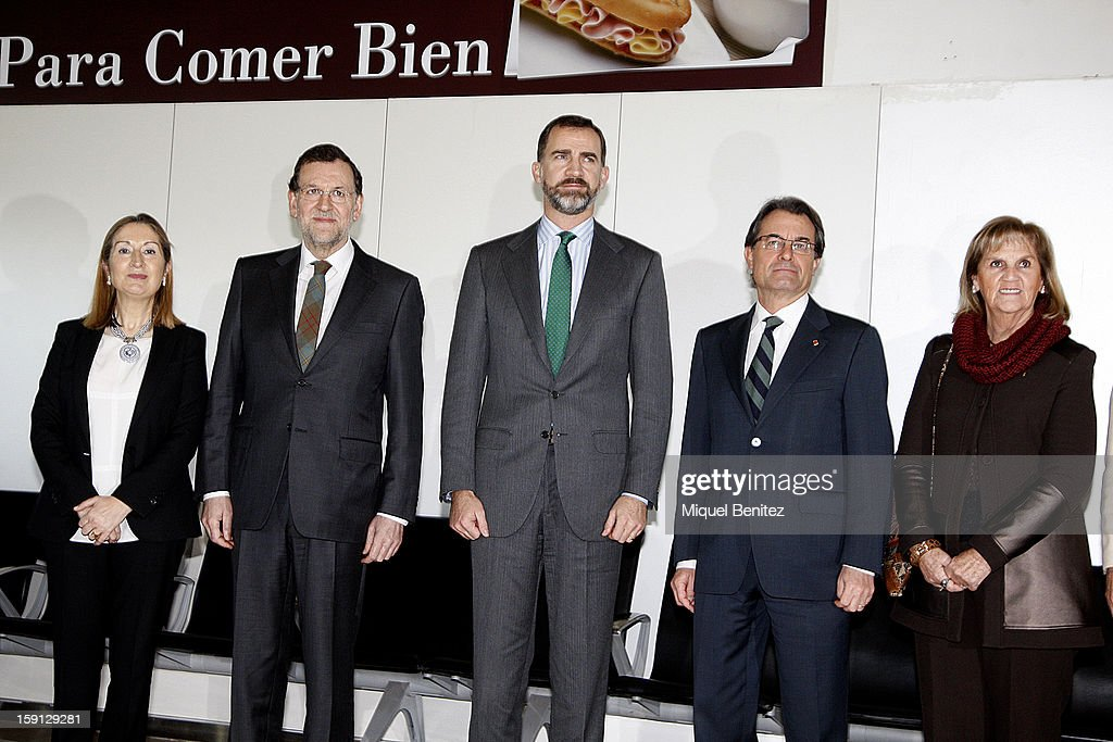 Spanish Minister of Development Ana Pastor, Prime Minister of Spain Mariano Rajoy, Prince Felipe of Spain, President of Catalonia <a gi-track='captionPersonalityLinkClicked' href=/galleries/search?phrase=Artur+Mas&family=editorial&specificpeople=712829 ng-click='$event.stopPropagation()'>Artur Mas</a>, Nuria de Gispert at Barcelona Sants train station during the inauguration of the AVE high-speed train line between Barcelona and the French border on January 8, 2013 in Barcelona, Spain.