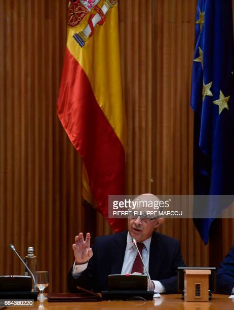 Spanish Minister of Finance and Public Services Cristobal Montoro attends a press conference during presentation of the 2017 general state budget...