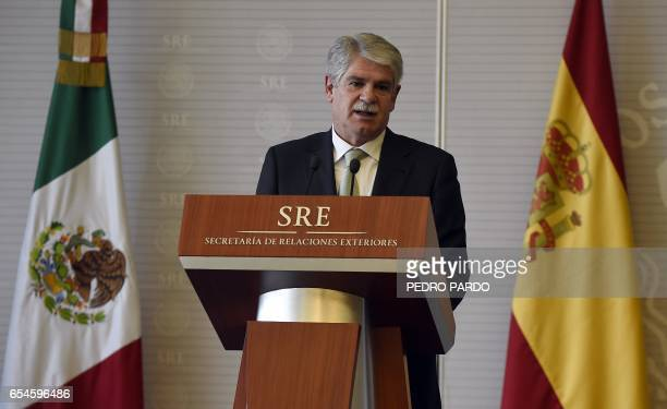 Spanish Minister of Foreign Affairs and Cooperation Alfonso Dastis delivers a message to the media at the Mexican Foreign Ministry building on March...