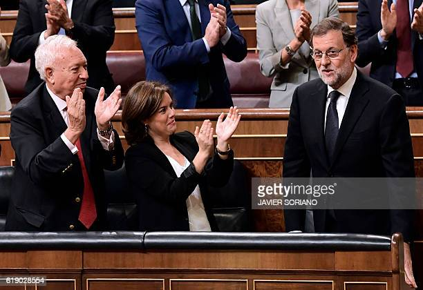 Spanish Minister of Foreign Affairs and Cooperation Jose GarciaMargallo and Spanish Deputy Prime Minister and Spokeswoman Soraya Saenz de Santamaria...
