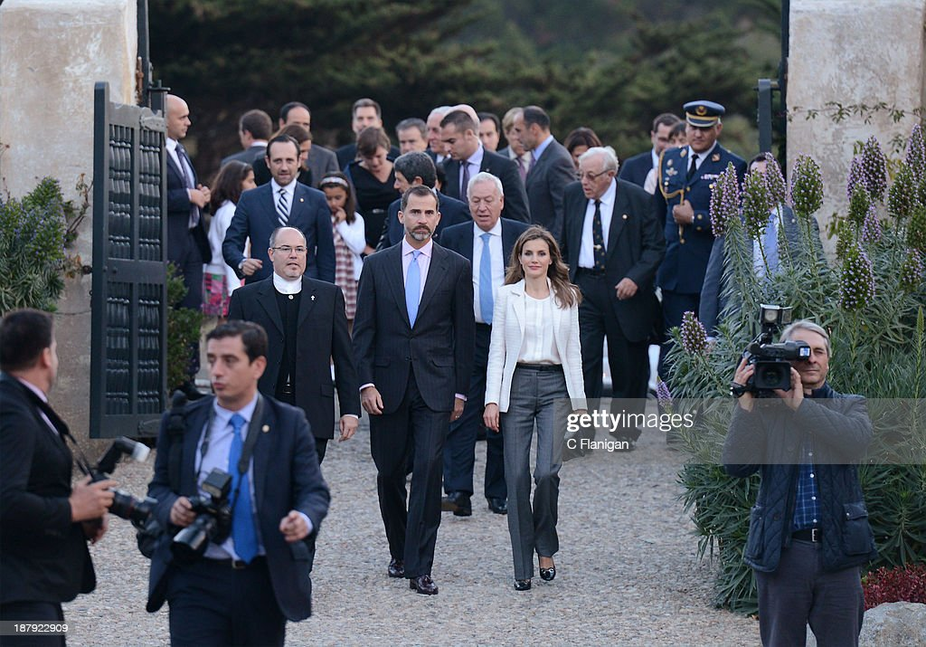 Spanish Minister of Foreign Affairs Jose Manuel Garcia-Margallo, Prince Felipe of Spain and Princess <a gi-track='captionPersonalityLinkClicked' href=/galleries/search?phrase=Letizia+of+Spain&family=editorial&specificpeople=158373 ng-click='$event.stopPropagation()'>Letizia of Spain</a> visit The San Carlos Borromeo de Carmelo Mission on November 13, 2013 in San Carlos, California.