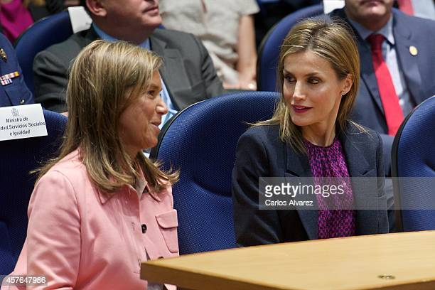 Spanish Minister of Health Social Services and Equality Ana Mato and Queen Letizia of Spain attend the 25th Anniversary Ceremony of the Spanish...