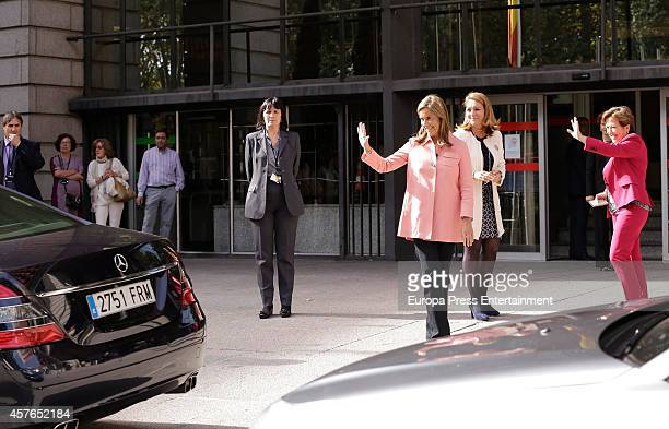Spanish Minister of Health Social Services and Equality Ana Mato says goodby to Queen Letizia of Spain after the 25th Anniversary of the Spanish...