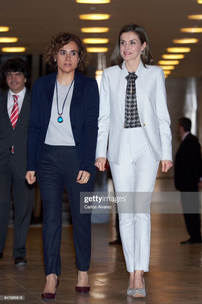 Spanish Minister of Health, Social Services and Equality Dolors Montserrat (L) and Queen Letizia of Spain (R) attend the Rare Diseases offcial day event at El Prado Museum on March 2, 2017 in Madrid, Spain.
