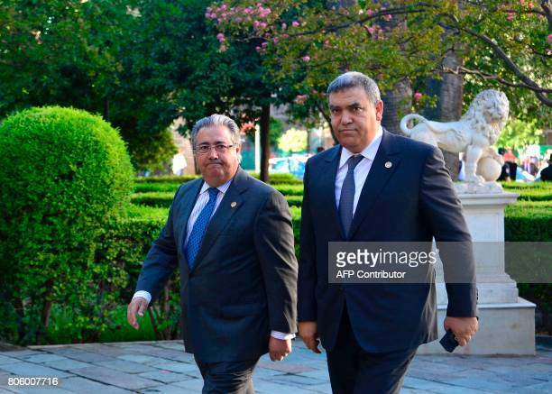 Spanish Minister of Interior Juan Ignacio Zoido arrives with Moroccan Minister of Interior Abdelouafi Laftit before a meeting at the 'Archivo General...