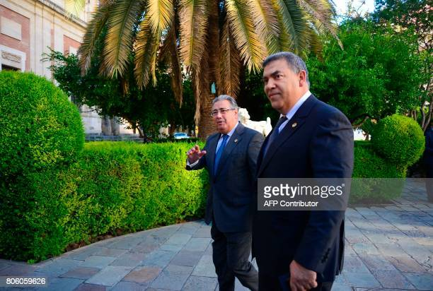 Spanish Minister of Interior Juan Ignacio Zoido arrives with Moroccan Minister of Interior Abdelouafi Laftit before a meeting at the 'Archivo de...