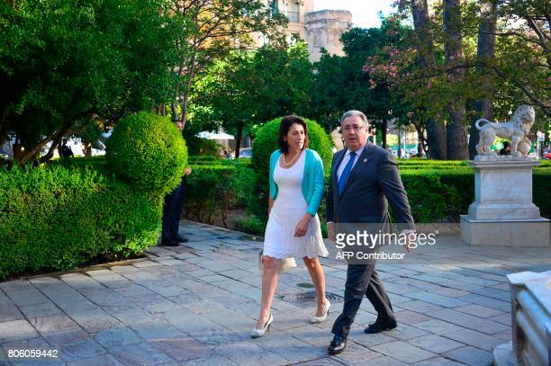 Spanish Minister of Interior Juan Ignacio Zoido arrives with Portuguese Minister of Interior Constança Urbano de Sousa before a meeting at the...