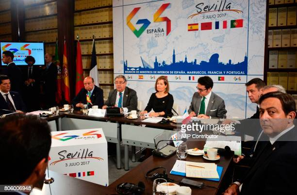 Spanish Minister of Interior Juan Ignacio Zoido looks on during a meeting the 'Archivo General de Indias' in Seville on July 3 during the G4 summit...