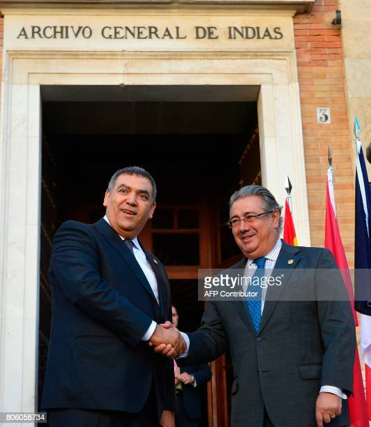 Spanish Minister of Interior Juan Ignacio Zoido shakes hands with Moroccan Minister of Interior Abdelouafi Laftit before a meeting at the 'Archivo de...