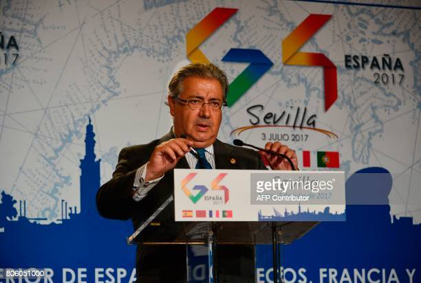 Spanish Minister of Interior Juan Ignacio Zoido speaks as he gives a press conference at the 'Archivo de Indias' in Seville on July 3 during the G4...