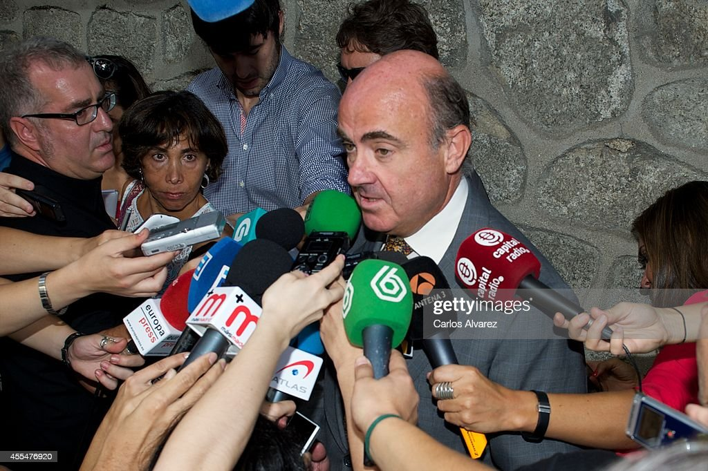 Spanish minister of the Economy and Finance <a gi-track='captionPersonalityLinkClicked' href=/galleries/search?phrase=Luis+de+Guindos&family=editorial&specificpeople=8756055 ng-click='$event.stopPropagation()'>Luis de Guindos</a> attends the memorial service for Spanish businessman and President of 'El Corte Ingles' Isidoro Alvarez at the Ramon Areces Foundation on September 15, 2014 in Madrid, Spain.